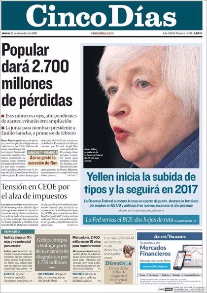 Las portadas de los periódicos económicos de hoy, jueves 15 de diciembre