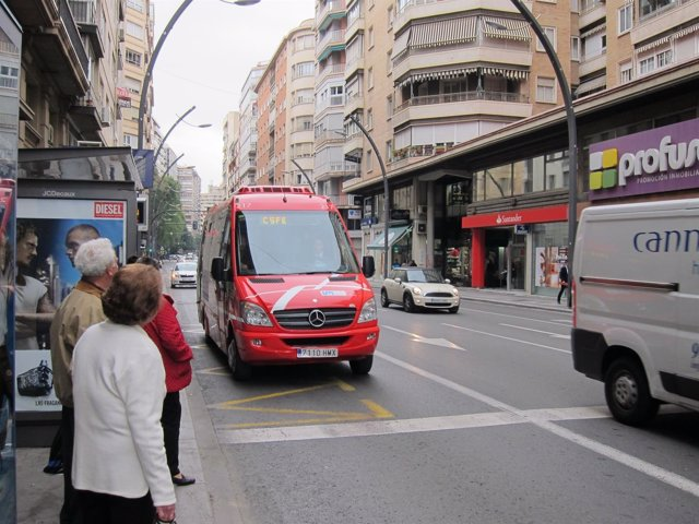 Autobús de la línea roja de Murcia. Bus
