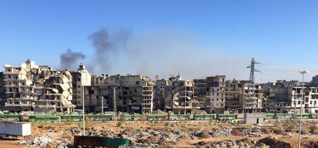 Autobuses para la evacuación del este de Alepo