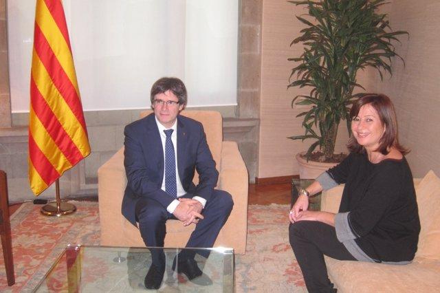 Carles Puigdemont y Francina Armengol en la Generalitat
