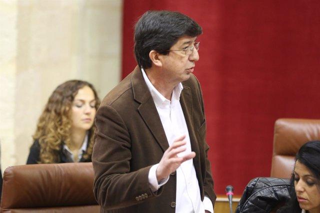 Juan Marín, portavoz parlamentario de C's, en la sesión de control al gobiern