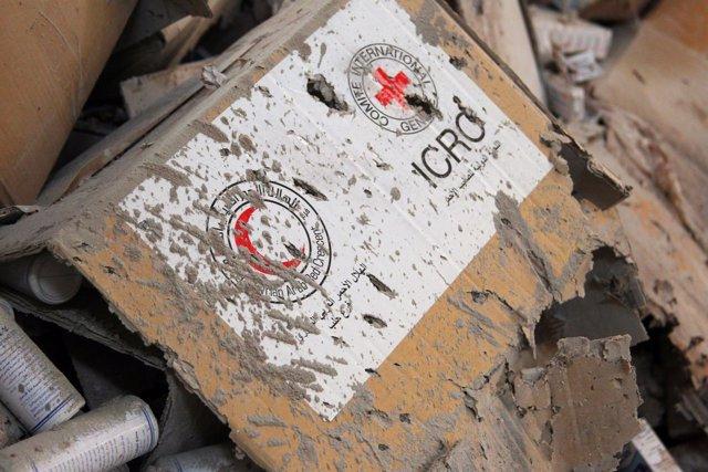 Restos del convoy humanitario atacado en la provincia de Alepo
