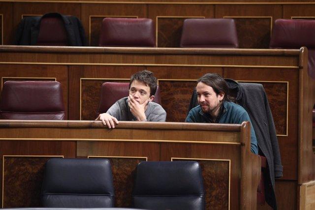 Errejón y Pablo Iglesias juntos en el Congreso
