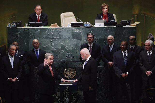Antonio Guterres jura la Carta de Naciones Unidas