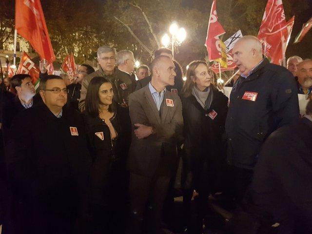 Los socialistas en la concentración.