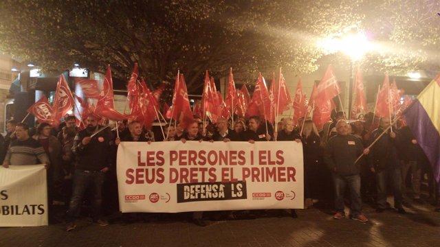 Concentración de CCOO y UGT en Palma por los derechos de los trabajadores