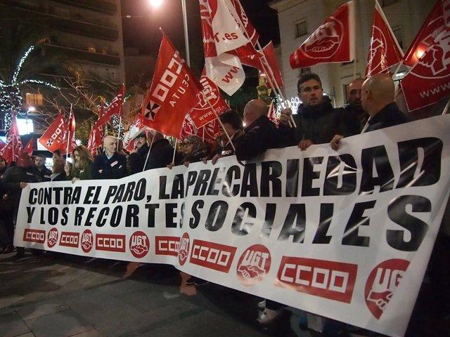 Manifestación de CCOO y UGT en Ceuta