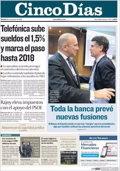 Las portadas de los periódicos económicos de hoy, viernes 16 de diciembre