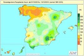 El balance hídrico acumula un 5 por ciento de lluvias menos de lo normal