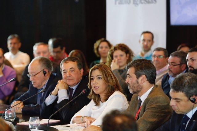 Susana Díaz en la reunión de Comité del Mediterráneo de Internacional Socialista