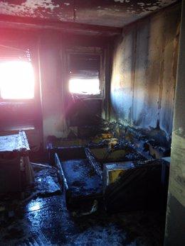 Incendio de una vivienda en el barrio pamplonés de Ripagaina