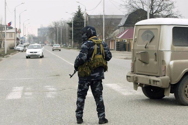 Soldado en Chechenia