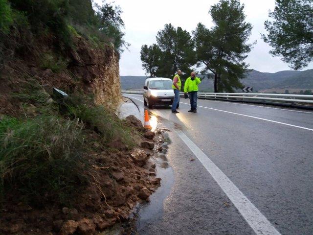 Diputación revsia el estado de carreteras a raíz del temporal de lluvias