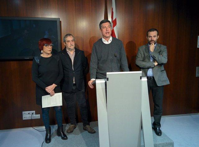Trini Capdevila, Jordi Coronas (ERC), Jordi Martí y Raimond Blasi (CiU)