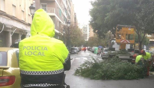 La Policía Local trabaja en la retirada de árboles en la vía