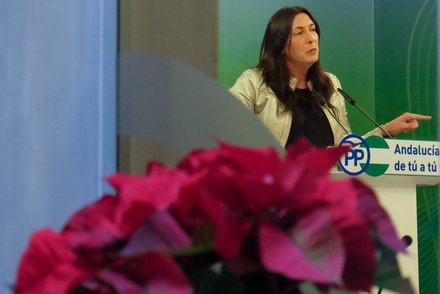 Loles López, este lune en rueda de prensa en Sevilla