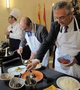 Lambán y Olona han participado en un show cooking de alimentos de Aragón