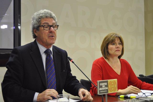 Gregorio Briz y Carmen Martínez (CHA), en rueda de prensa en las Cortes