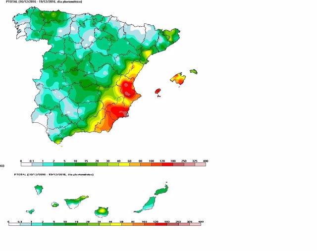 Las lluvias dejan acumulaciones muy importantes en el Mediterráneo