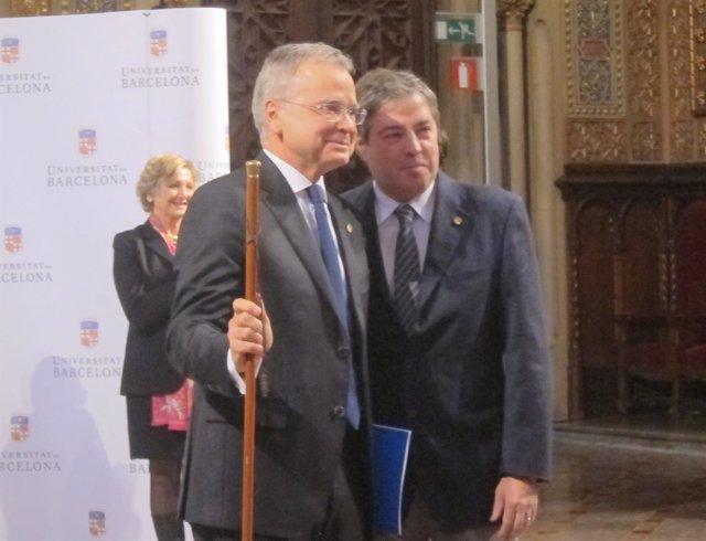 El rector de la UB Joan Elias y el saliente J.Alberch