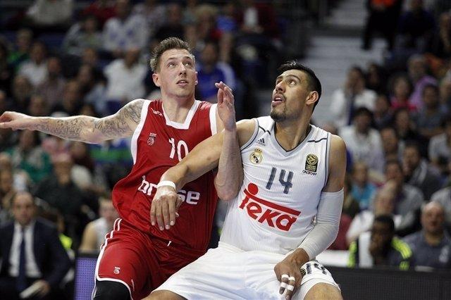 Ayón en el Brose Baskets Bamberg - Real Madrid