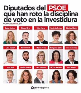 Diputados del PSOE que votaron no a Rajoy