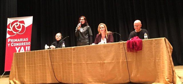 Pilar Folch, Martínez Seijo, Zaida Cantera y Odón Elorza en el acto de Valladoli