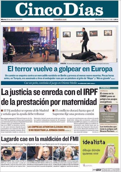 Las portadas de los periódicos económicos de hoy, martes 20 de diciembre