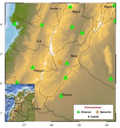 Registrado un terremoto de magnitud 4,3 en el centro de Colombia