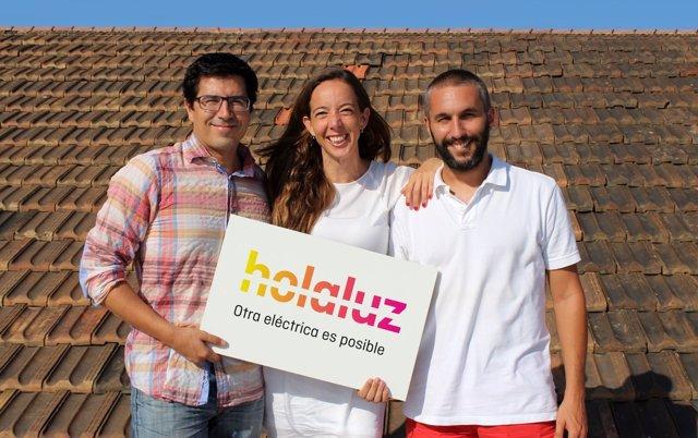 Los fundadores de Holaluz Ferran Nogué, Carlota Pi y Oriol Vila