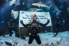 Antonio Orozco felicita las fiestas rodeado de tiburones en L'Aquàrium