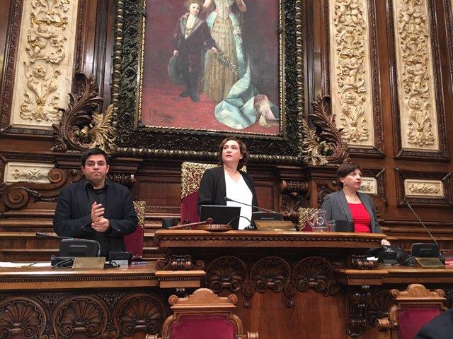 A.Colau, G.Pisarello y L.Ortiz