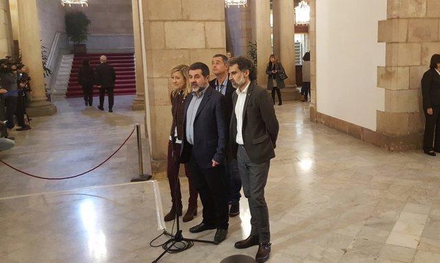 Neus Lloveras (AMI), Jordi Sànchez (ANC), Jordi Cuixart (Òmnium)