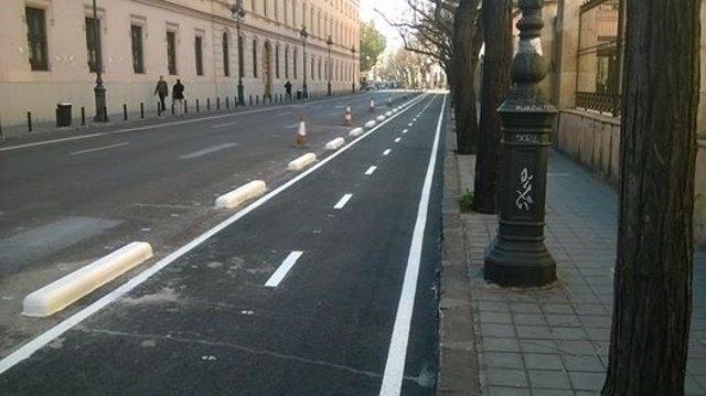Carril bici en la ciudad