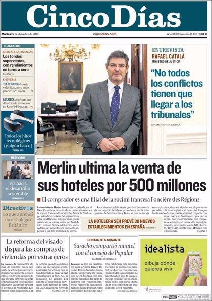 Las portadas de los periódicos económicos de hoy, martes 27 de diciembre