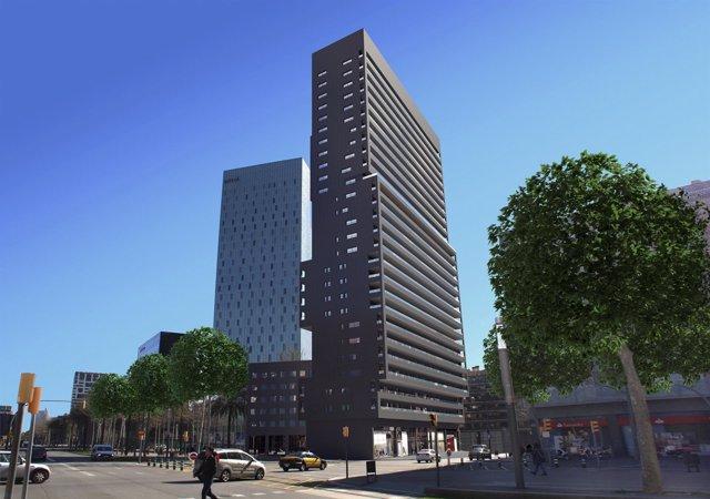 Simulación de 2014 del rascacielos de viviendas en Diagonal con Pere IV