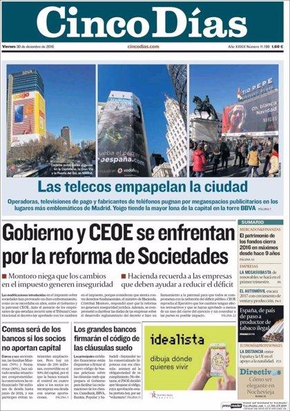 Las portadas de los periódicos económicos de hoy, viernes 30 de diciembre