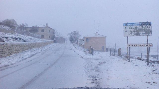 El Calar de la Santa, Moratalla, nieve, carretera nevada, invierno, frío