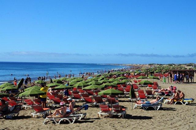 La Playa del Inglés, en Gran Canaria