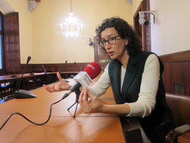 Marta Rovira (ERC) durante la entrevista de Europa Press