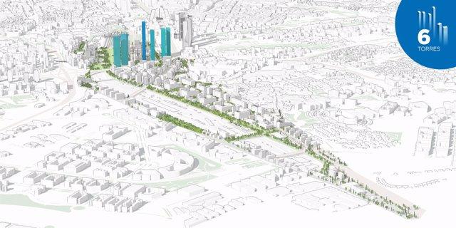 Recreación del proyecto de DCN para el norte de Madrid