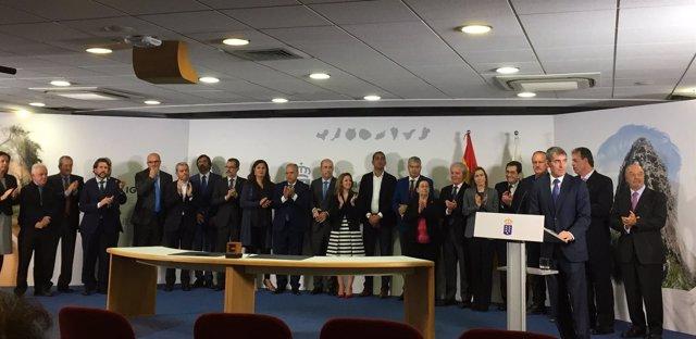 Fernando Clavijo tras la firma del fondo Fdcan en Las Palmas de Gran Canaria