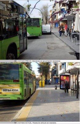 Una de las paradas en las que se ha actuado, con imagen de antes y después