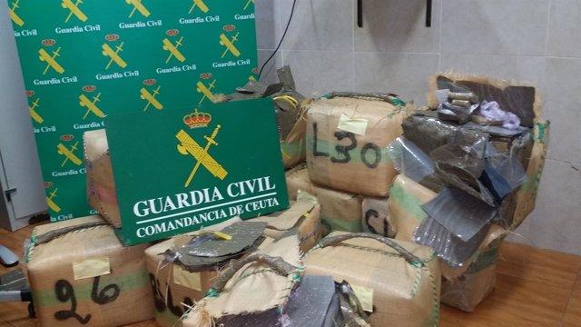 Guardia Civil recupera 771 kilos de hachís flotando cerca de Ceuta
