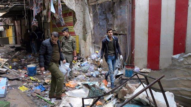 Doble atentado contra un mercado en el centro de Bagdad