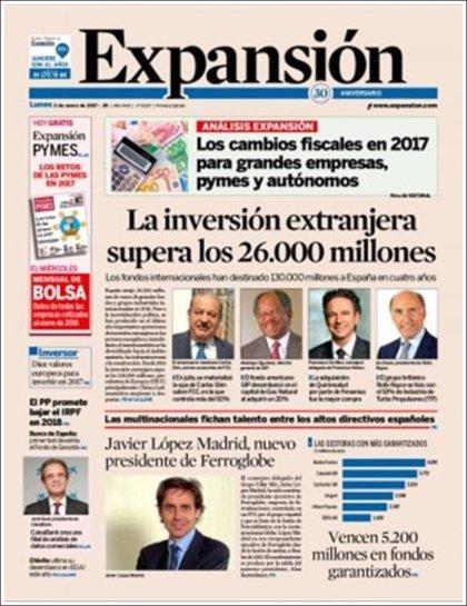Las portadas de los periódicos económicos de hoy, lunes 2 de enero