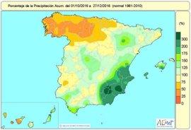 El primer trimestre del año hidrológico acaba con un 7% de déficit de precipitaciones