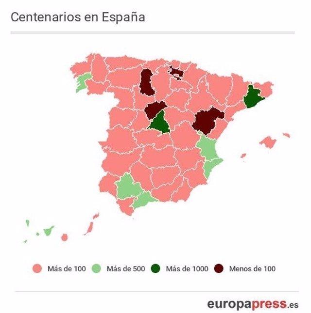 Centenarios en España 2016.