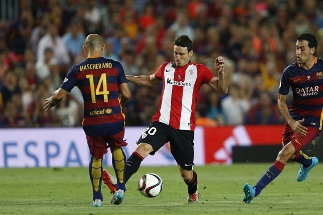 Mascherano , Aduriz. Final Supercopa. Barcelona FC- Athletic Club