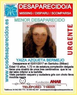 Yaiza, la chica desaparecida en Bilbao